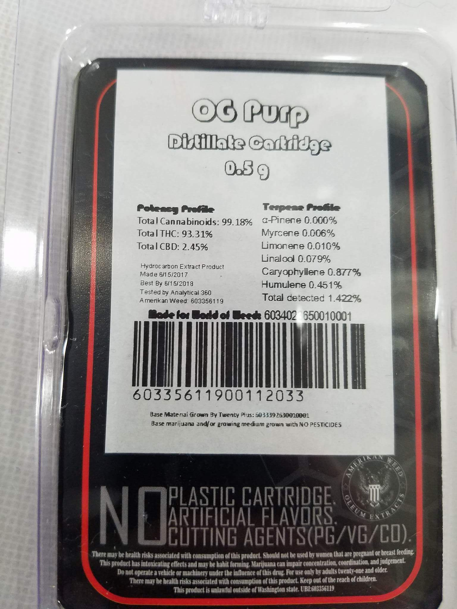 Oleum Extracts OG Purp Distillate Cartridge