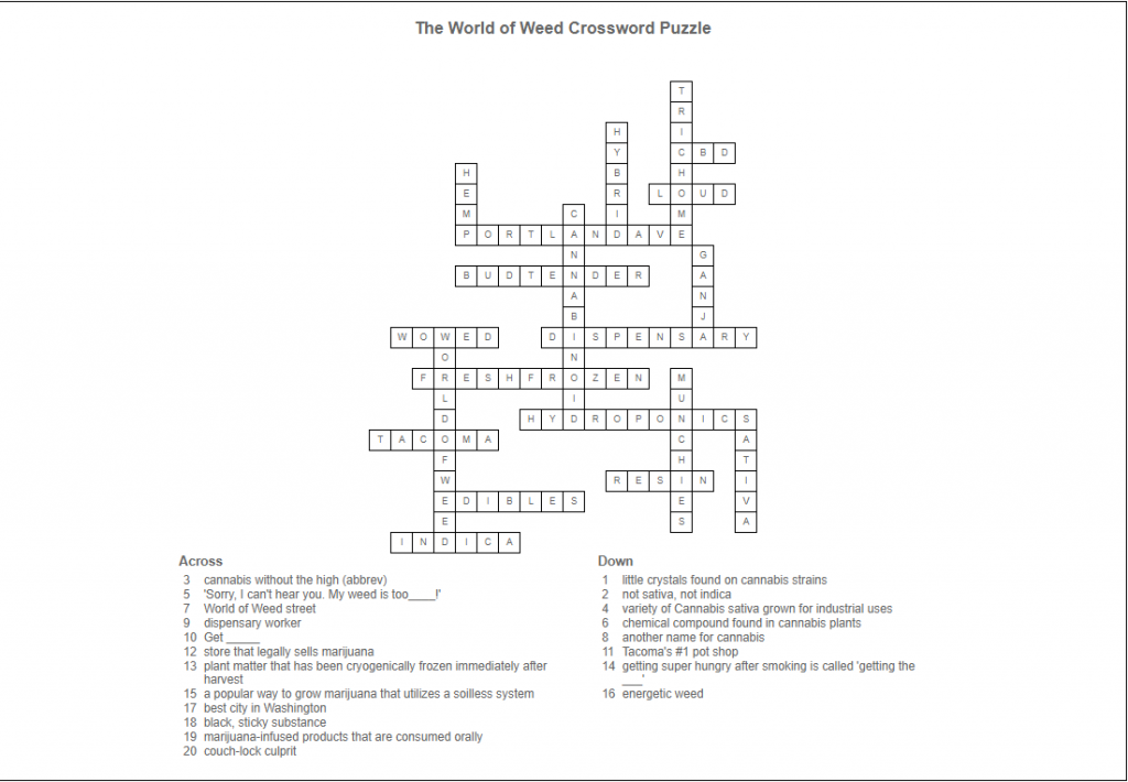 World of Weed Crossword Puzzle