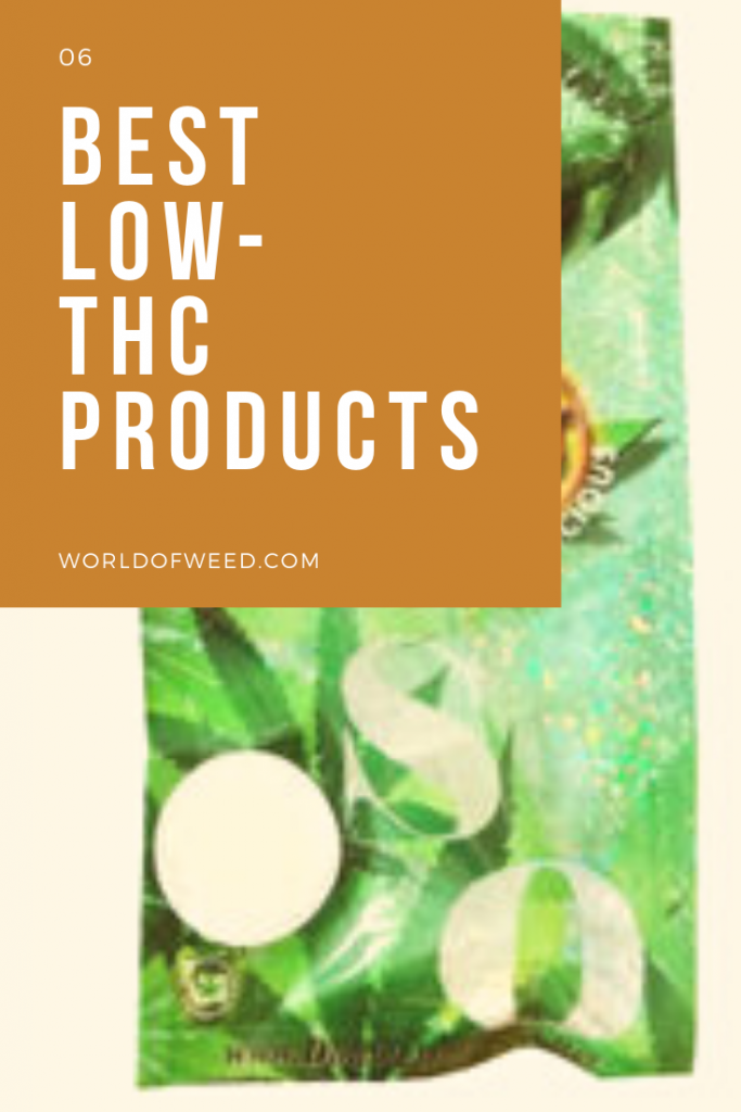 Text reading 6 Best Low-THC Products , background is image of a product in a green package